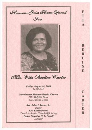 Primary view of object titled '[Funeral Program for Etta Berline Carter, August 18, 2006]'.