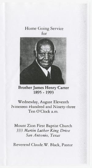 Primary view of object titled '[Funeral Program for James Henry Carter, August 11, 1993]'.