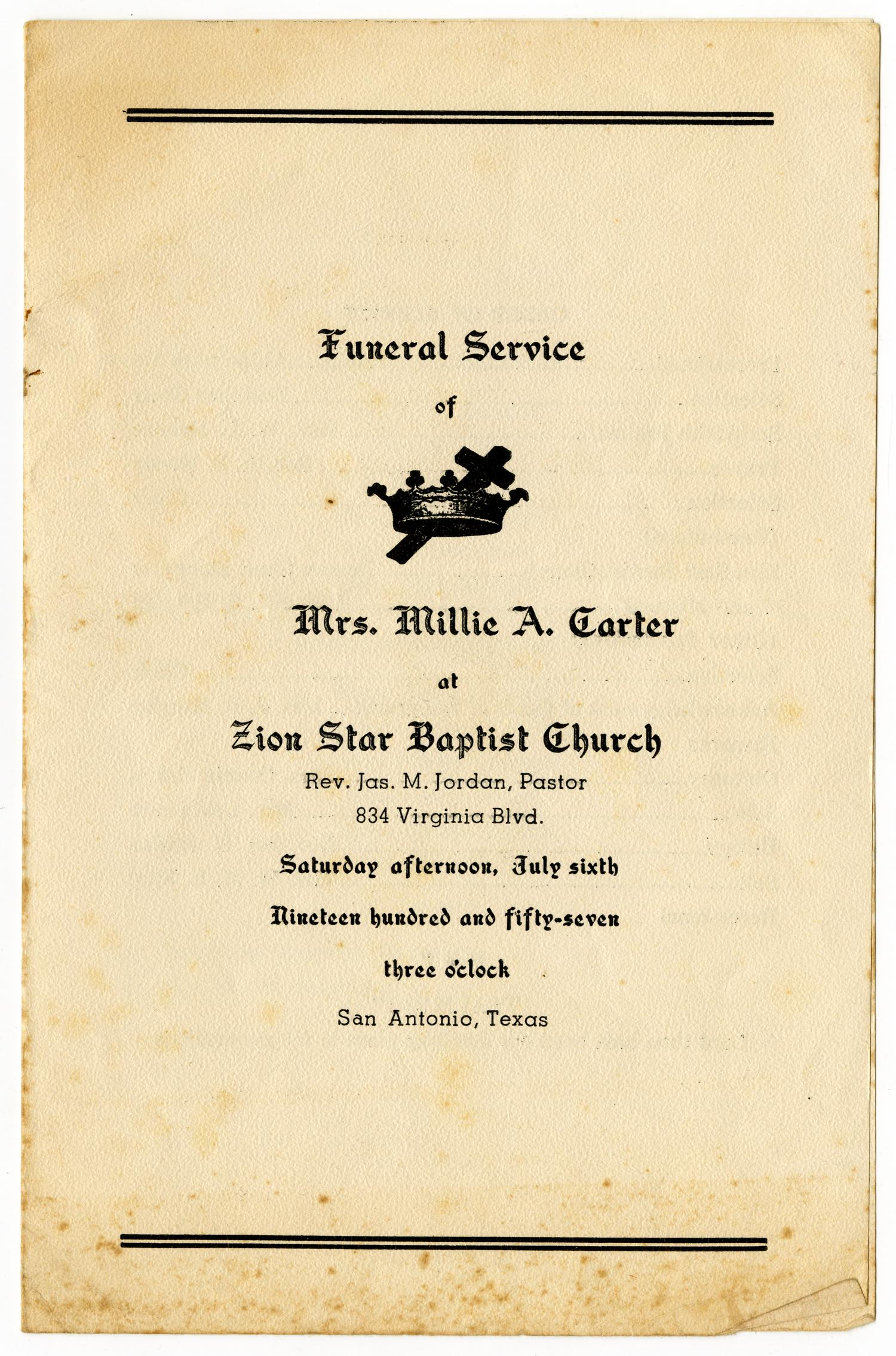 [Funeral Program for Millie A. Carter, July 6, 1957]                                                                                                      [Sequence #]: 1 of 3