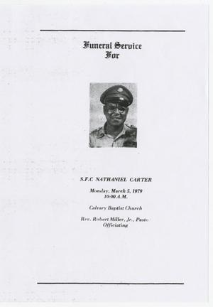 Primary view of object titled '[Funeral Program for Nathaniel Carter, March 5, 1979]'.