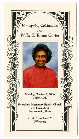 Primary view of object titled '[Funeral Program for Willie Tatum Carter, October 2, 2006]'.