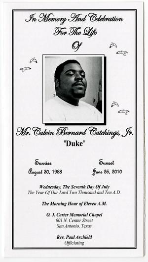 Primary view of object titled '[Funeral Program for Calvin Catchings, Jr., July 7, 2010]'.