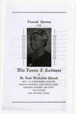Primary view of object titled '[Funeral Program for Fannie J. Caviness, June 21, 1960]'.