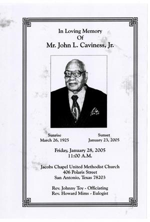 [Funeral Program for John L. Caviness, Jr., January 28, 2005]