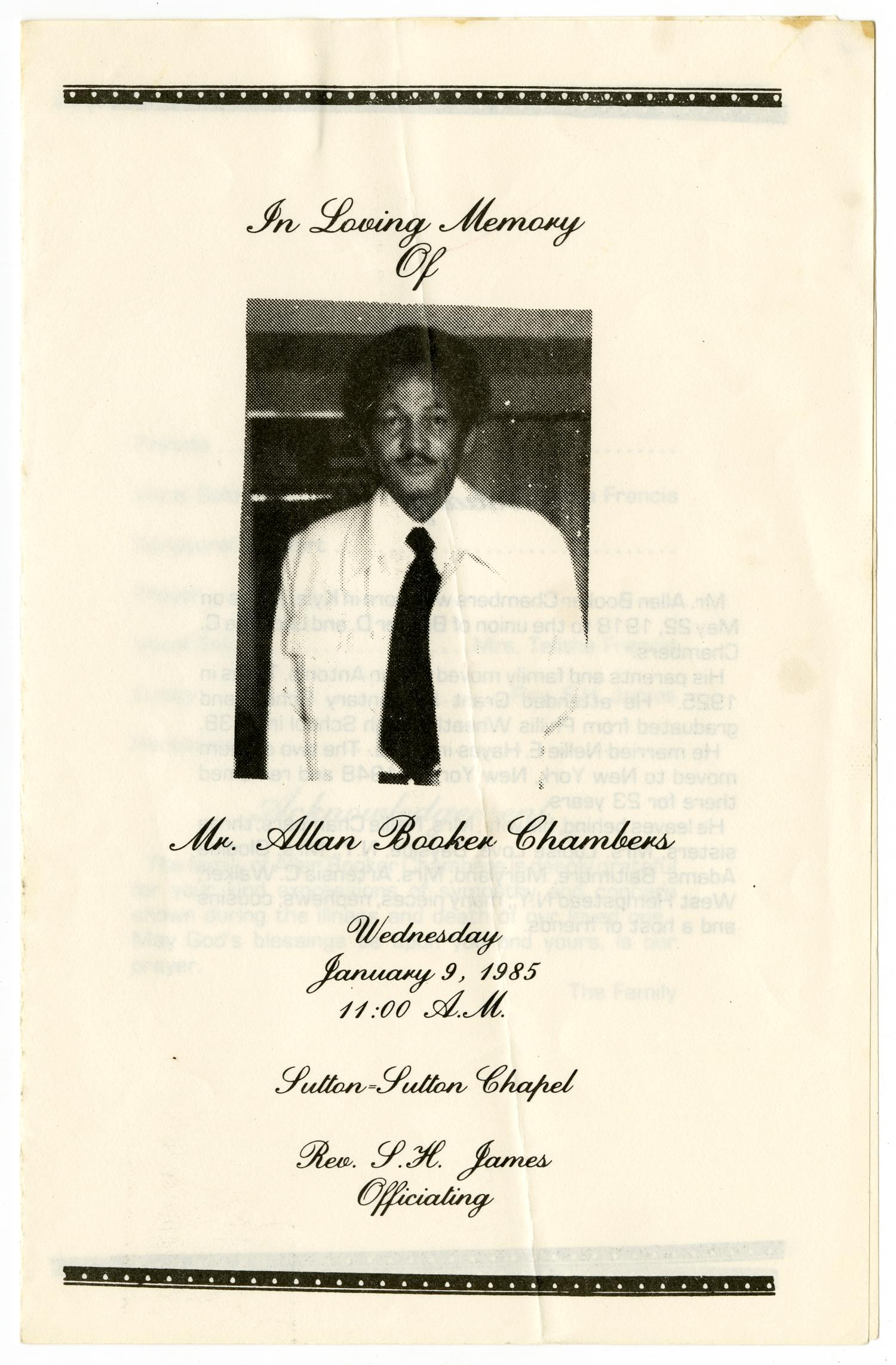 [Funeral Program for Allan Booker Chambers, January 9, 1985]                                                                                                      [Sequence #]: 1 of 3