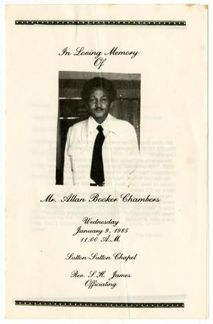 Primary view of object titled '[Funeral Program for Allan Booker Chambers, January 9, 1985]'.