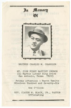 Primary view of object titled '[Funeral Program for Charles M.  Chandler, March 12, 1976]'.