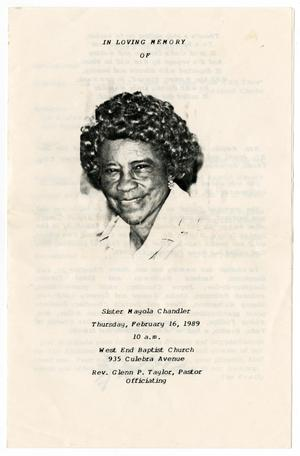 Primary view of object titled '[Funeral Program for Mayola Chandler, February 16, 1989]'.