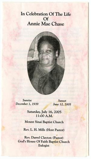 Primary view of object titled '[Funeral Program for Annie Mae Chase, July 16, 2005]'.