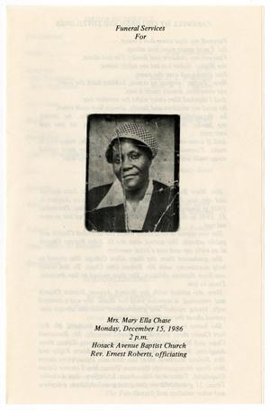 [Funeral Program for Mary Ella Chase, December 15, 1986]