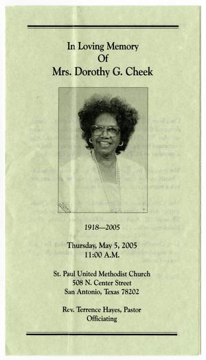 Primary view of object titled '[Funeral Program for Dorothy Cheek, May 5, 2005]'.