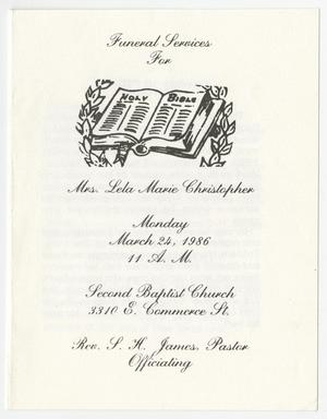 [Funeral Program for Lela Marie Christopher, March 24, 1986]