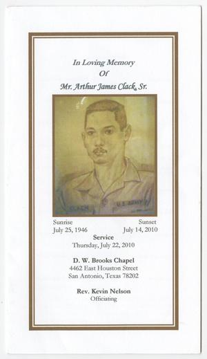Primary view of object titled '[Funeral Program for Arthur Clack, Sr., July 22, 2010]'.