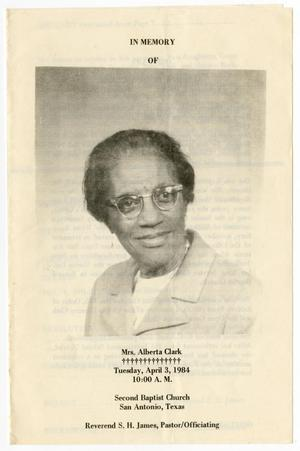 [Funeral Program for Alberta Clark, April 3, 1984]