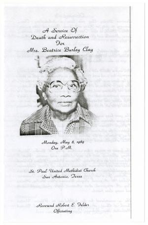Primary view of object titled '[Funeral Program for Beatrice Clay, May 8, 1989]'.