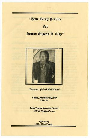 Primary view of object titled '[Funeral Program for Eugene Clay, December 29, 1989]'.