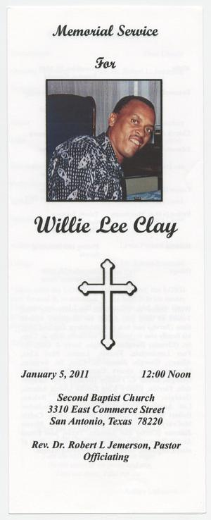 Primary view of object titled '[Funeral Program for Willie Lee Clay, January 5, 2011]'.