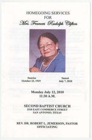 [Funeral Program for Frances Rudolph Clifton, July 12, 2010]