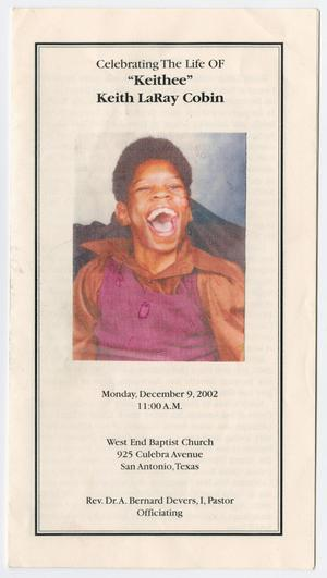 Primary view of object titled '[Funeral Program for Keith LaRay Cobin, December 9, 2002]'.