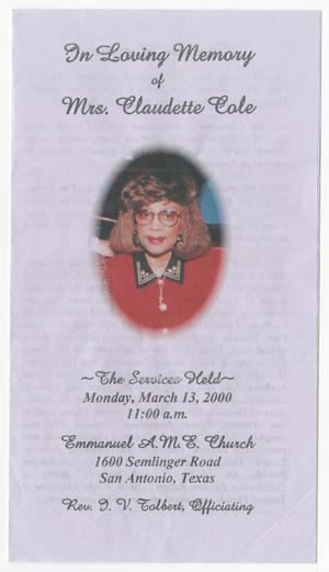 Primary view of object titled '[Funeral Program for Claudette Cole, March 13, 2000]'.