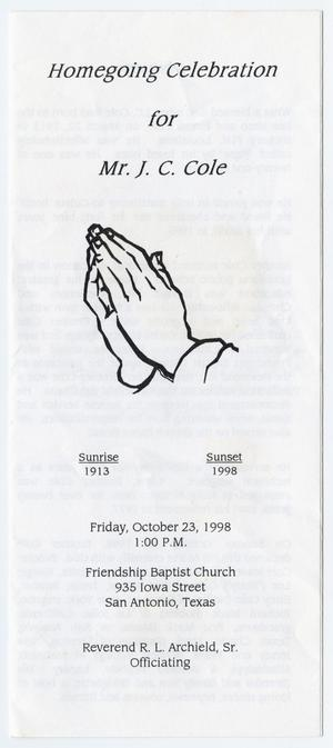 Primary view of object titled '[Funeral Program for J. C. Cole, October 23, 1998]'.