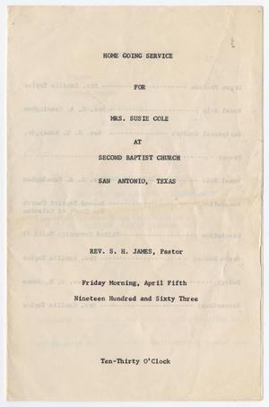 Primary view of object titled '[Funeral Program for Susie Cole, April 5, 1963]'.