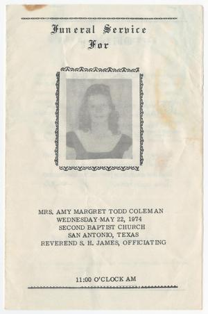 Primary view of object titled '[Funeral Program for Amy Margret Todd Coleman, May 22, 1974]'.