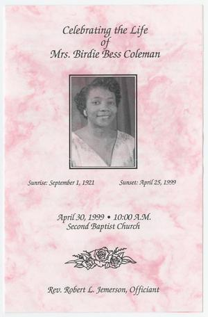 Primary view of object titled '[Funeral Program for Birdie Bess Coleman, April 30, 1999]'.