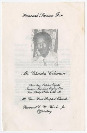 Primary view of object titled '[Funeral Program for Charles Coleman, October 8, 1981]'.