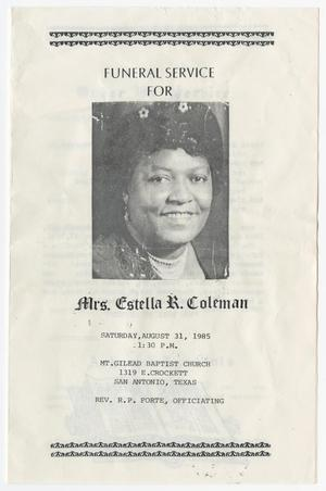 Primary view of object titled '[Funeral Program for Estella R. Coleman, August 31, 1985]'.
