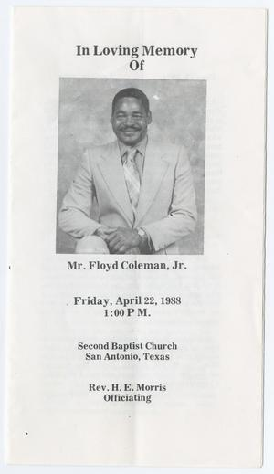 Primary view of object titled '[Funeral Program for Floyd Coleman, Jr., April 22, 1988]'.