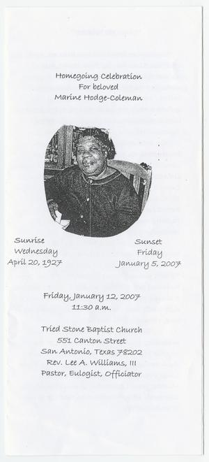Primary view of object titled '[Funeral Program for Marine Hodge-Coleman, January 12, 2007]'.