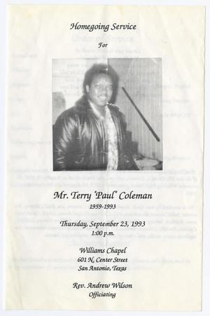 [Funeral Program for Terry Coleman, September 23, 1993]