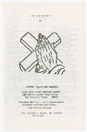 [Funeral Program for Willie Mae Coleman, April 17, 1980]