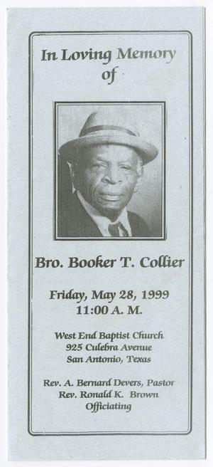 Primary view of object titled '[Funeral Program for Booker T. Collier, May 28, 1999]'.