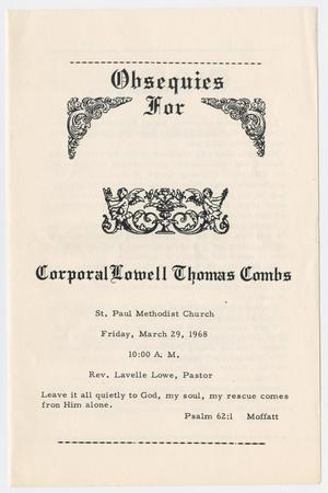 Primary view of object titled '[Funeral Program for Lowell Thomas Combs, March 29, 1968]'.