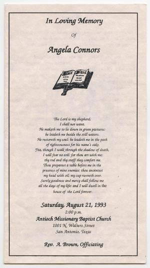 [Funeral Program for Angela Connors, August 21, 1993]