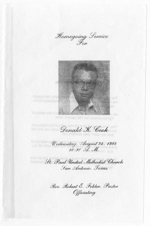 Primary view of object titled '[Funeral Program for Donald K. Cook, August 24, 1988]'.
