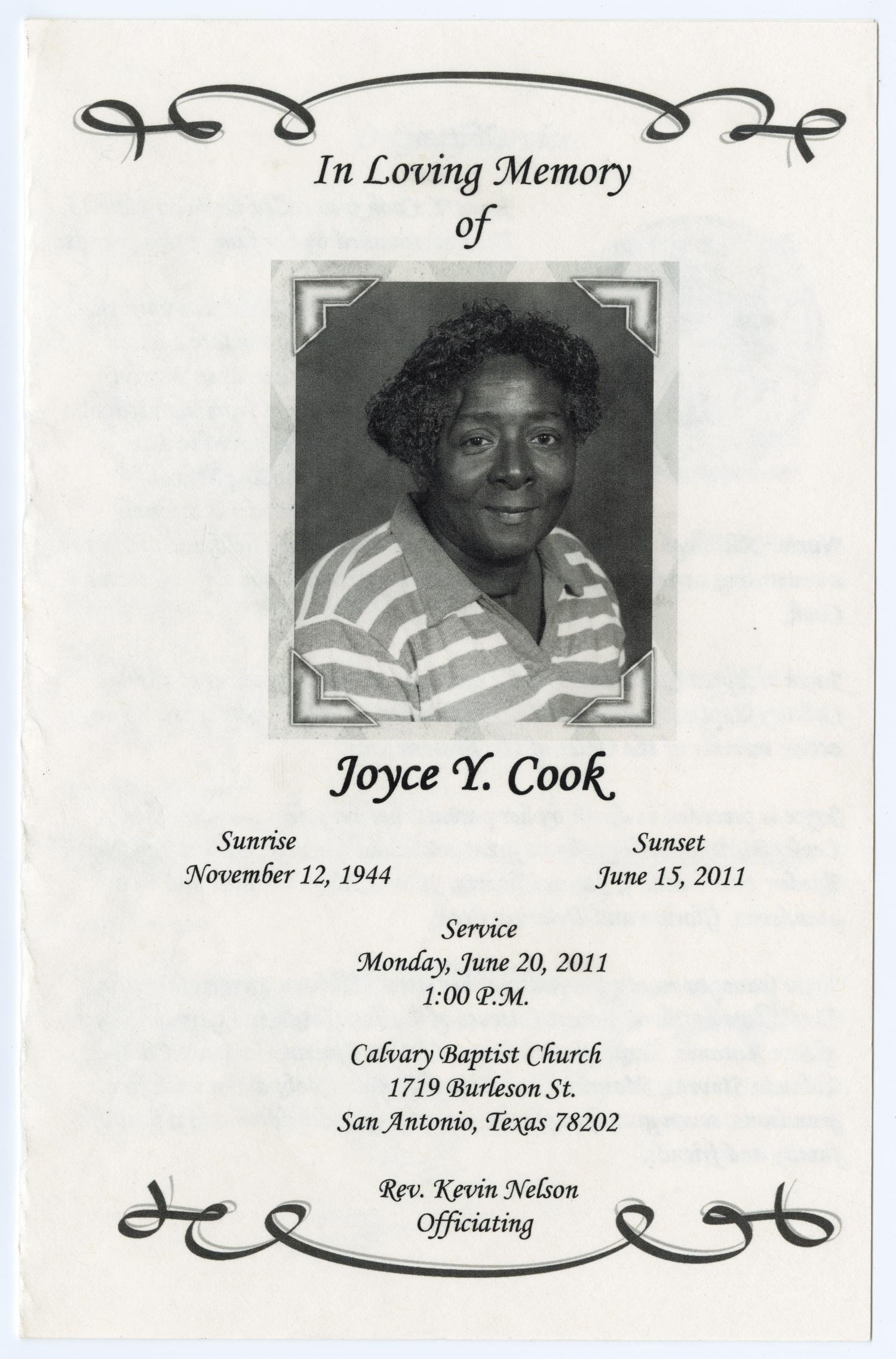 [Funeral Program for Joyce Y. Cook, June 20, 2011]                                                                                                      [Sequence #]: 1 of 3