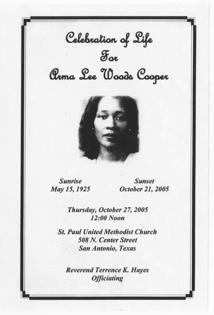 Funeral Program for Arma Lee Woods Cooper, October 27, 2005] - The ...