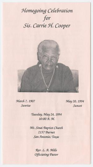 Primary view of object titled '[Funeral Program for Carrie H. Cooper, May 24, 1994]'.