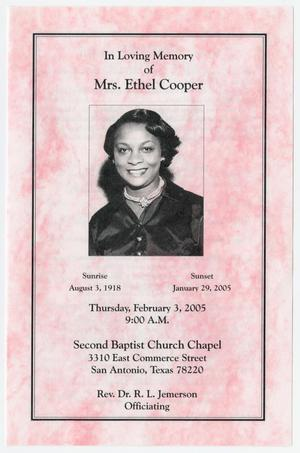 Primary view of object titled '[Funeral Program for Ethel Cooper, February 3, 2005]'.
