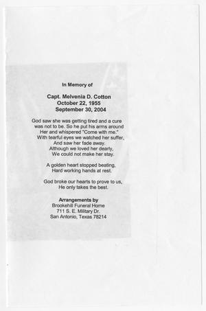 [Funeral Program for Melvenia D. Cotton]