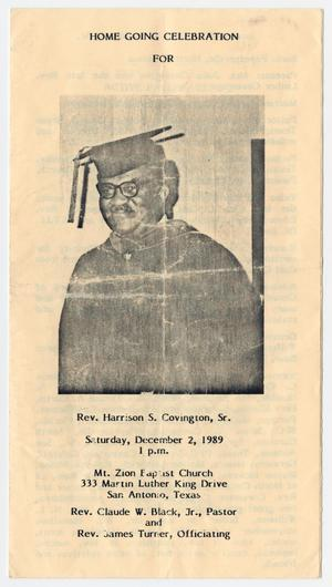 Primary view of object titled '[Funeral Program for Harrison S. Covington, Sr., December 2, 1989]'.