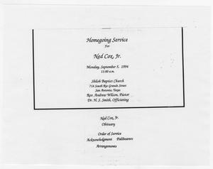 [Funeral Program for Ned Cox, Jr., September 5, 1994]