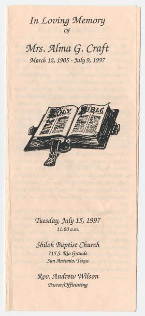 [Funeral Program for Alma G. Craft, July 15, 1997]