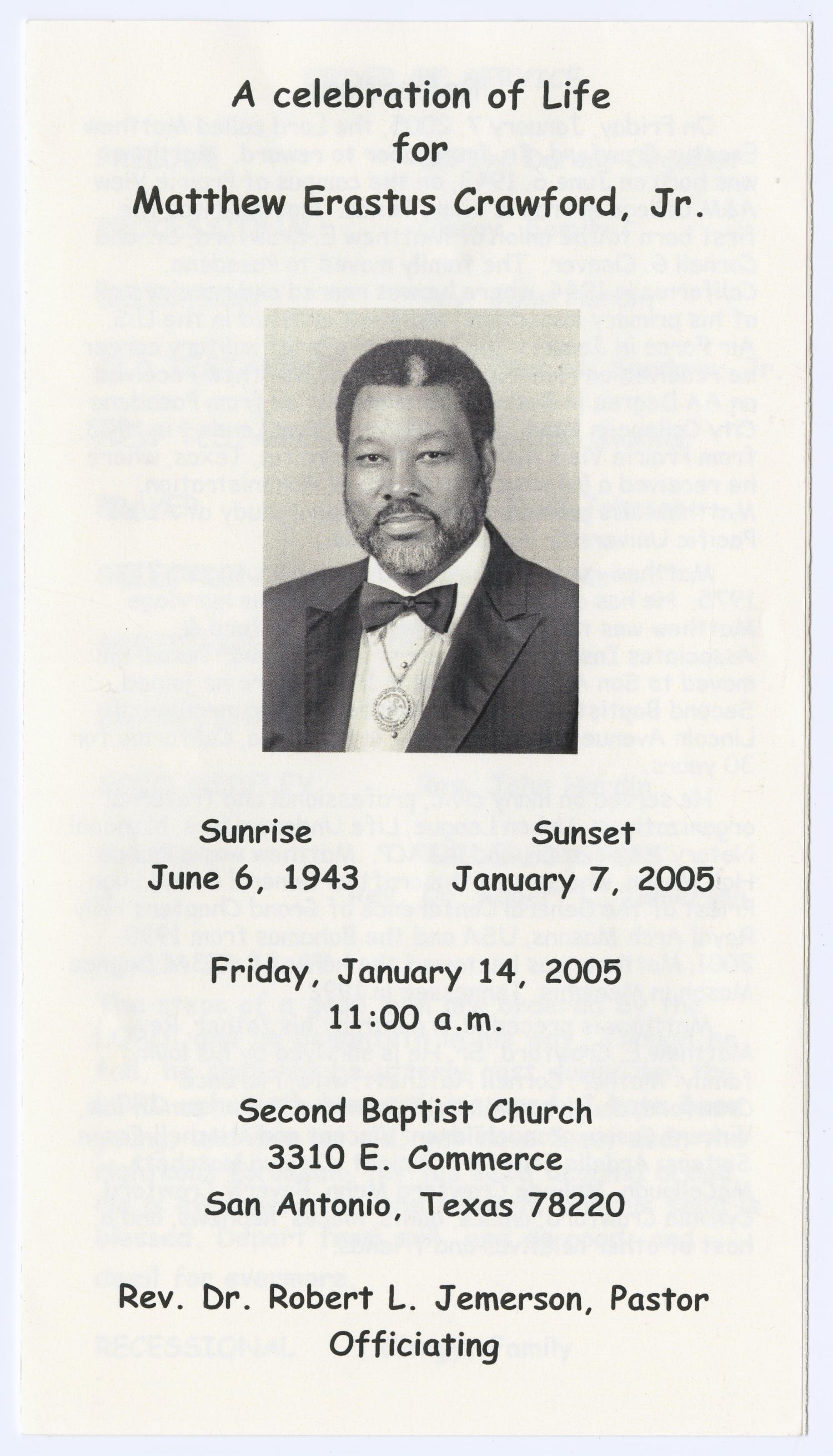 Funeral Program For Mattew Erastus Crawford Jr January