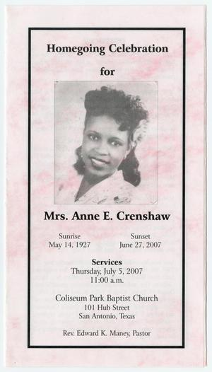[Funeral Program for Anne E. Crenshaw, July 5, 2007]
