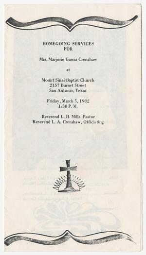 Primary view of object titled '[Funeral Program for Marjorie Garcia Crenshaw, March 5, 1982]'.