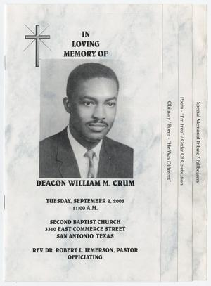 Primary view of object titled '[Funeral Program for William M. Crum, September 2, 2003]'.